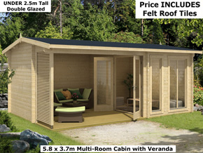 Trentan Tadworth Two Room Log Cabins - 1st Choice Leisure Buildings