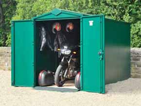 SafeStore Gold Silver Metal Motorcycle Garage - 1st Choice Leisure Buildings