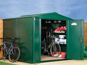 SafeStore Gold Silver Steel Metal Sheds UK - 1st Choice Leisure Buildings