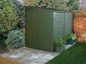 SafeStore Silver 'Ashbourne' 9ft x 4ft, 5ft, 6ft Pent Metal Sheds - 1st Choice Leisure Buildings