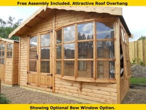 Diamond Brighton Flat Bow Window Summerhouse - 1st Choice Leisure Buildings