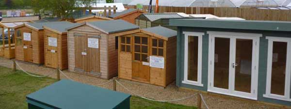 View of our Guildford, Surrey garden buildings display site