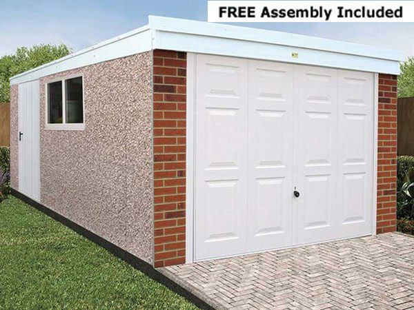 Lidget Prefabricated Concrete Deluxe Pent Garage - Concrete Garage - 1st Choice Leisure Buildings