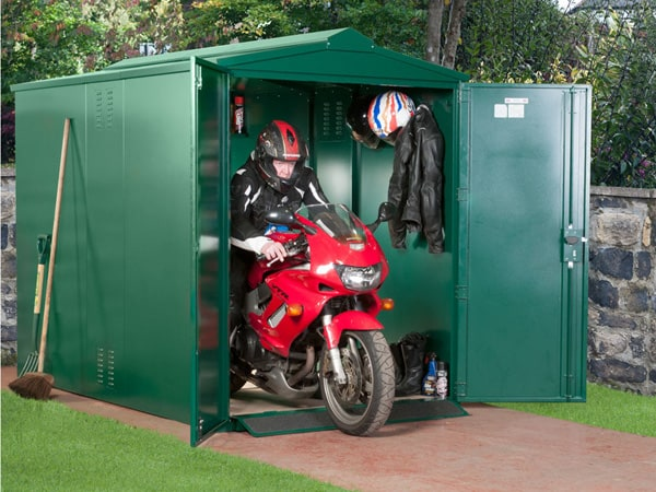 SafeStore Birkdale Motorbike Garage - Secure Steel Bike Shed - 1st Choice Leisure Buildings